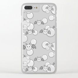 Bubbles and Bats Grey Clear iPhone Case