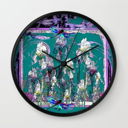 Teal-Purple DragonfliesPurple Iris Fantasy Art Wall Clock