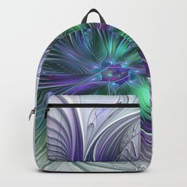 Floral Energy Colorful Abstract Fractal Art Flower Backpack