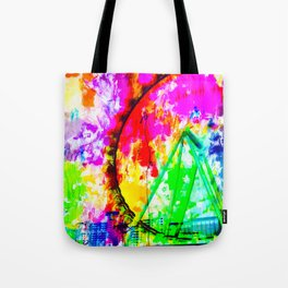 ferris wheel in the city at Las Vegas, USA with colorful painting abstract background Tote Bag