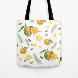 Tangerines, spices and branches of tree Tote Bag
