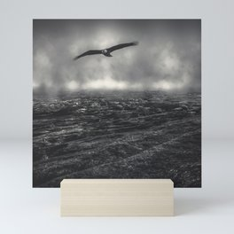 Hunting The Fog Line Bald Eagle Mini Art Print
