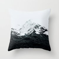 mountain Throw Pillows featuring Those waves were like mountains by Robert Farkas