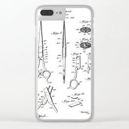 Hair Scissors Patent - Salon Art - Black And White Clear iPhone Case