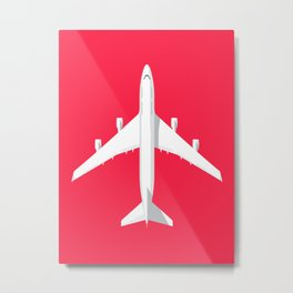 747-400 Jumbo Jet Airliner Aircraft - Crimson Metal Print