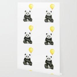 Panda Watercolor Animal with Yellow Balloon Nursery Baby Animals Wallpaper