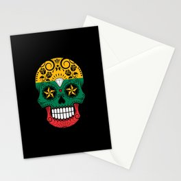 Sugar Skull with Roses and Flag of Lithuania Stationery Cards