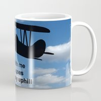 airplane Mugs featuring airplane by Karl-Heinz Lüpke