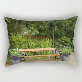 Bench and Flowers Rectangular Pillow