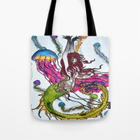 siren Tote Bags featuring Siren by Labartwurx