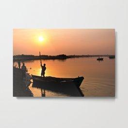 Sunset on Sacred Yamuna River Metal Print