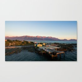 kaikoura warf sunrise mountains colors new zealand Canvas Print