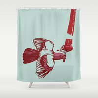 pigeon Shower Curtains featuring Pigeon Paint by Thomcat23