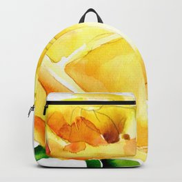 Single Yellow Rose Watercolour Painting Backpack