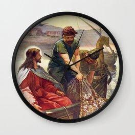 Peter and Jesus Fishing Wall Clock
