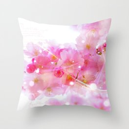 Japanese Sakura Tree with Pastel Pink Blossoms Throw Pillow