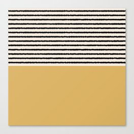 Texture - Black Stripes Gold Canvas Print