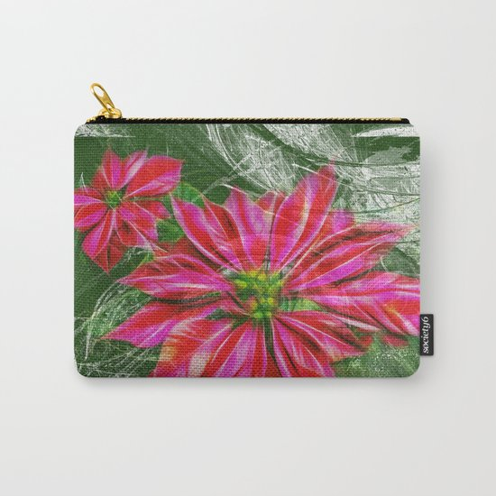 Abstract vibrant red poinsettia on green texture Carry-All Pouch