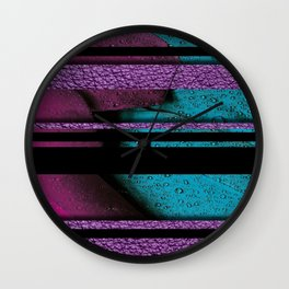 Water Drops on Feathers Textured & Black Stripes Wall Clock