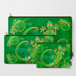 Gecko Lizard Colorful Tattoo Style Carry-All Pouch
