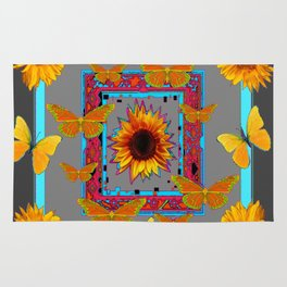 TURQUOISE SOUTHWEST ART YELLOW  BUTTERFLIES FLOWERS Rug