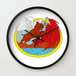 American Bully Dog Fighting Satan Drawing Wall Clock
