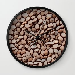Culinary pattern design of brown lentils Wall Clock