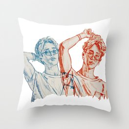 Jimin red and blue Throw Pillow