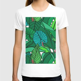 Jungle Leaves Illustrated in White T-shirt
