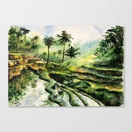 Sunny rice fields of Bali, Indonesia - Watercolor art Canvas Print