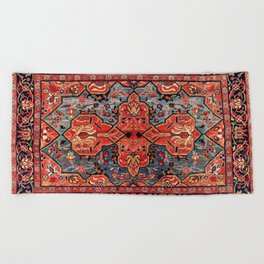 Kashan Poshti Central Persian Rug Print Beach Towel