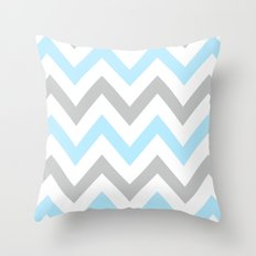 BLUE & GRAY CHEVRON Throw Pillow