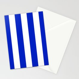 Cobalt Blue and White Wide Circus Tent Stripe Stationery Cards