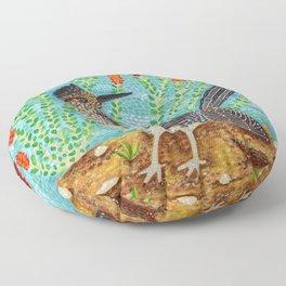 Roadrunner and Ocotillo Cactus Floor Pillow