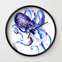 Blue Purple Octopus Wall Clock