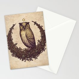 Owl Hedera Moon Stationery Cards