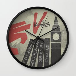 V fo r vendetta, minimal movie poster, Natalie Portman, Stephen Fry, film based on the graphic n Wall Clock