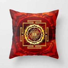 Shri Yantra, Cosmic Conductor of Energy, Lotus Flower, Buddhism Throw Pillow