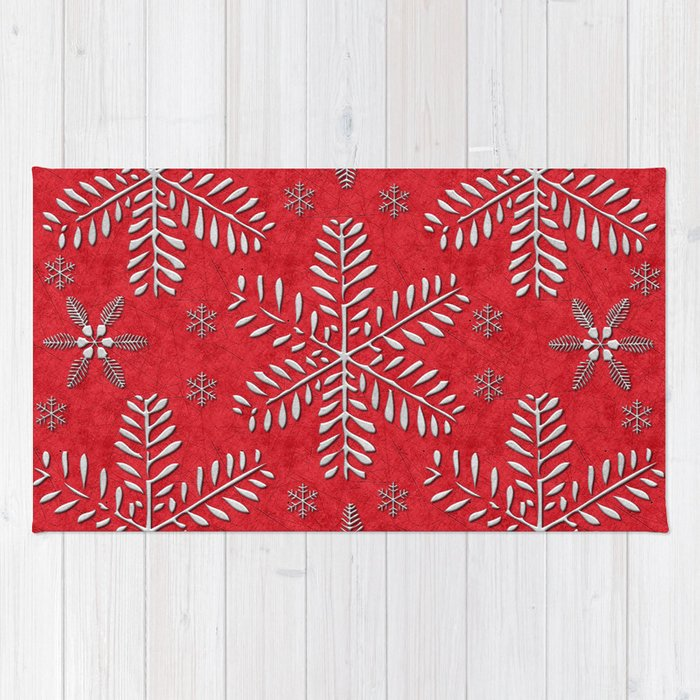 DP044-8 Silver snowflakes on red Rug