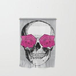 Skull and Roses   Grey and Pink Wall Hanging