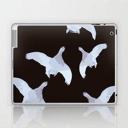 White Willow grouse Birds On A Black Background #decor #buyart #society6 Laptop & iPad Skin