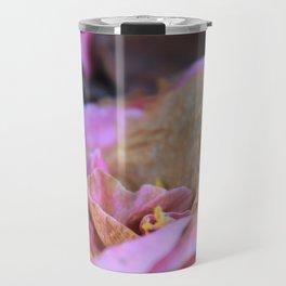 Details of a pink camelia Travel Mug