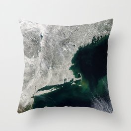 Winter Aerial View of New York, Long Island, Rhode Island, Cape Cod & New England Throw Pillow