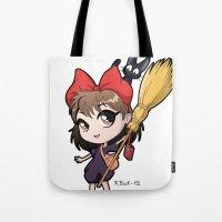 kiki Tote Bags featuring Chibi Kiki by Warbunny