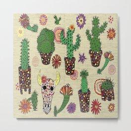 mosaic cactus plant pots Metal Print