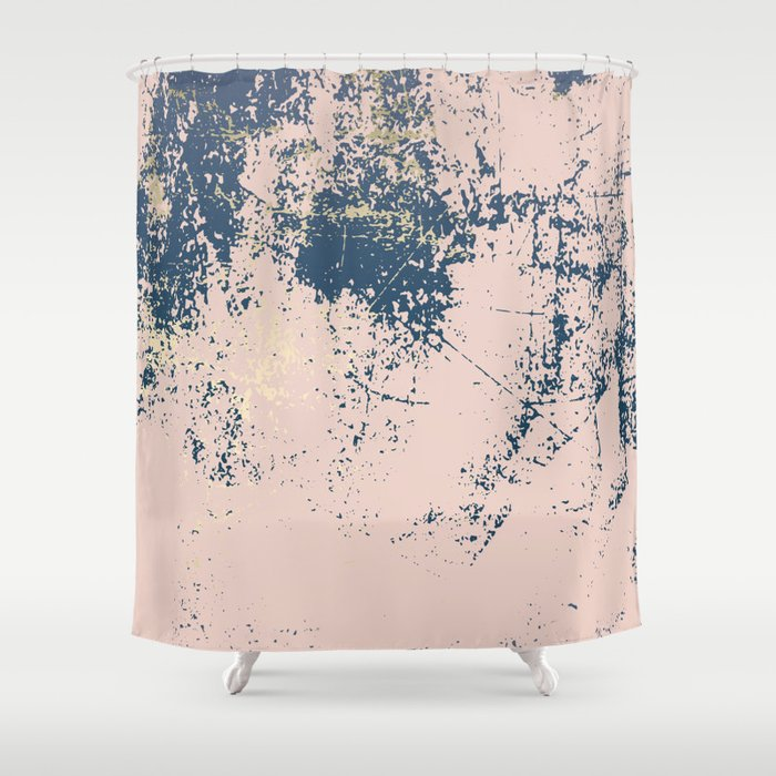 Patina Pink Navy Gold Shower Curtain