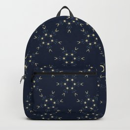 Indigo Blue Glowing Stars Texture Drawn Starry Ornamental Backpack