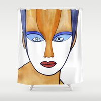 cartoons Shower Curtains featuring Aza (previous age) by Federico Faggion