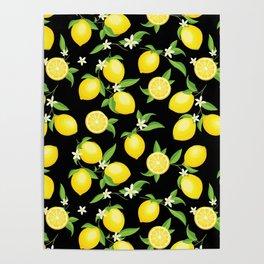 You're the Zest - Lemons on Black Poster