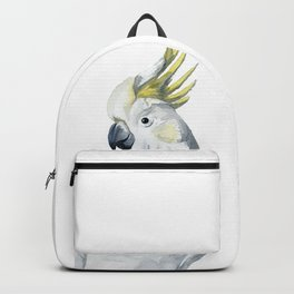 White and yellow watercolor cockatoo portrait Backpack